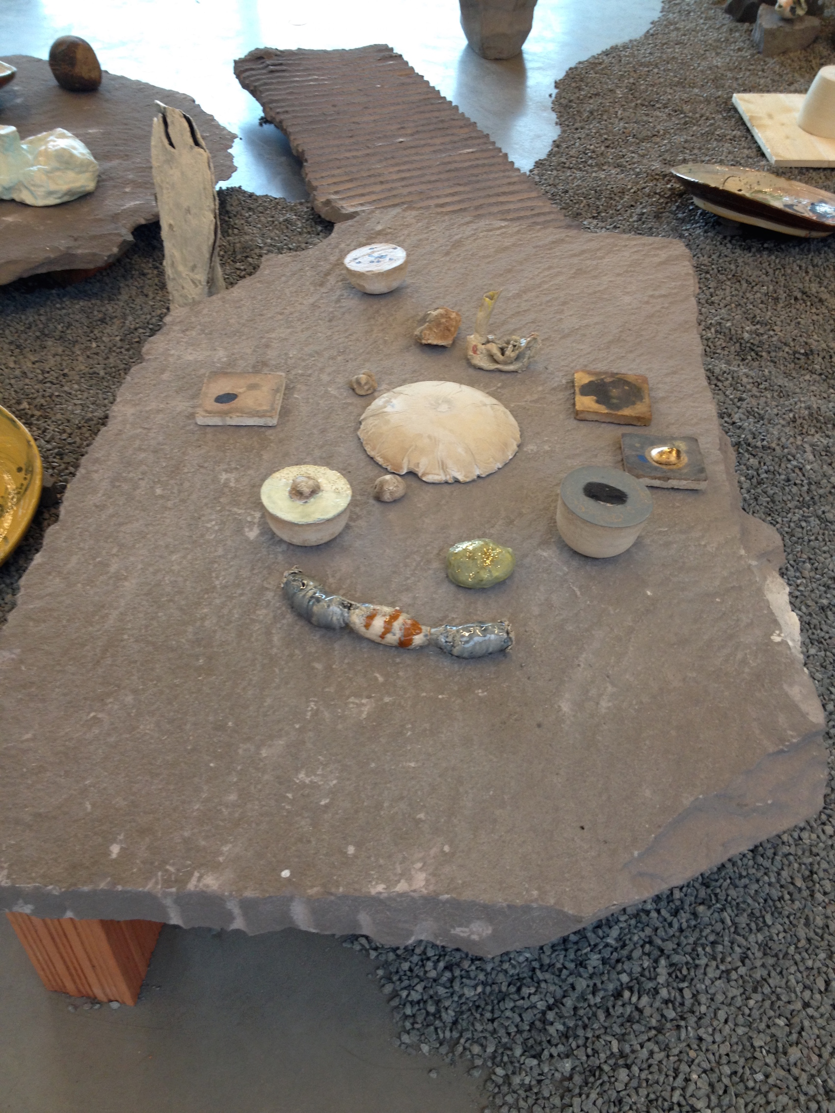 Dionysus Kit (2015),concrete, Glazed Ceramic, Shell, Fossils, Wax, Gold  Paint, Stone, Bricks (installation View At La Box, ENSA, Bourges)